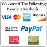 You Can Pay us using Credit Cards, PayPal, Liberty Reserve & PayTreck!